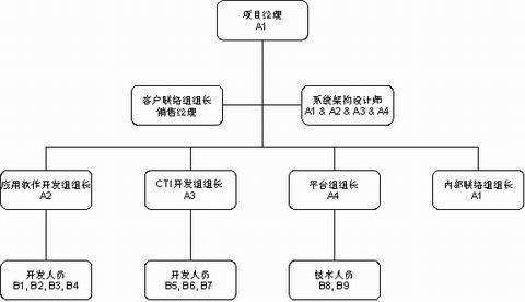 具体的项目组织结构和角色如下