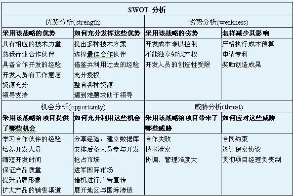 swot分析:确定项目战略